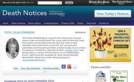 Michigan Death Notices